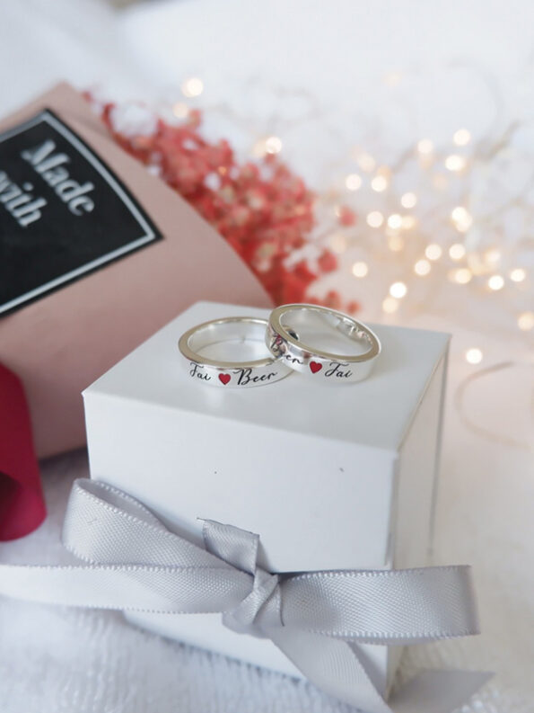red heart name ring